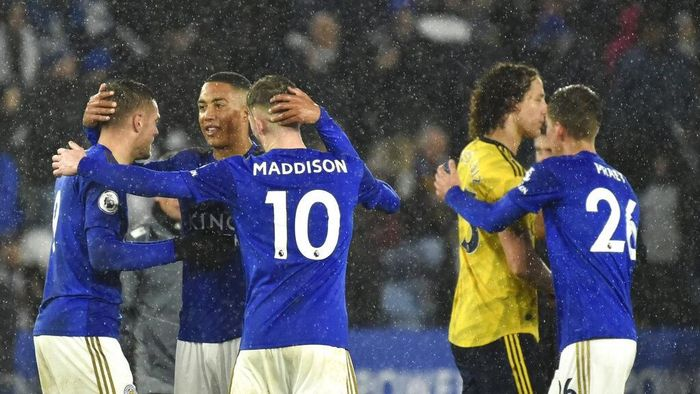 Leicester City mengalahkan Arsenal 2-0 (AP Photo/Rui Vieira)