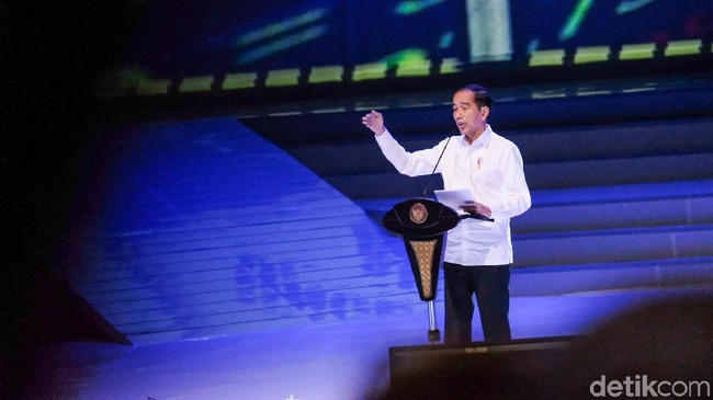 Foto: Presiden Jokowi di HUT ke-8 NasDem. (Andhika-detikcom)