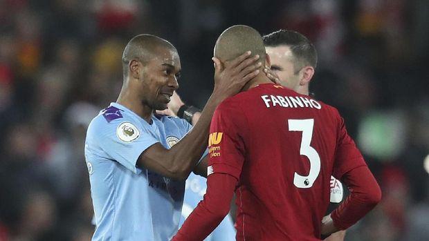 Fabinho cetak gol pertama Liverpool ke gawang Man City.