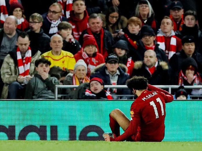 Mohamed Salah mengalami cedera engkel saat laga kontra Man City (REUTERS/Phil Noble)