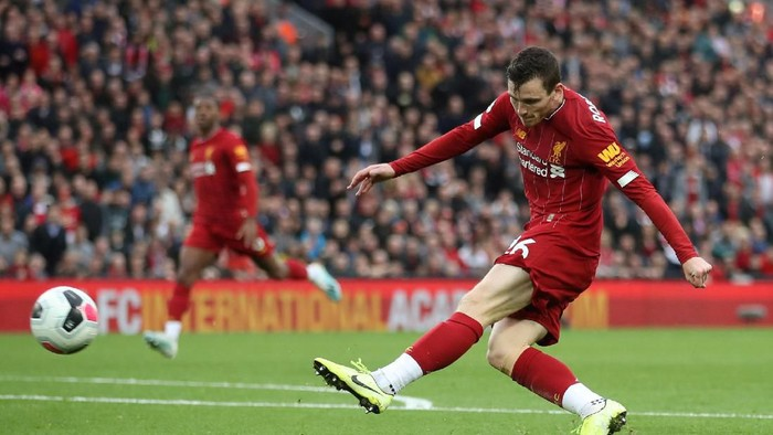 FILE PHOTO: Soccer Football - Premier League - Liverpool v Leicester City - Anfield, Liverpool, Britain - October 5, 2019  Liverpools Andrew Robertson in action  Action Images via Reuters/Carl Recine  EDITORIAL USE ONLY. No use with unauthorized audio, video, data, fixture lists, club/league logos or