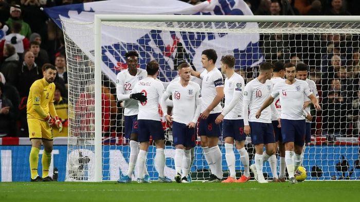 Inggris menang 7-0 atas Montenegro dalam pertandingannya yang ke-1.000 untuk lolos ke Piala Eropa 2020 (Foto: Carl Recine/Action Images via Reuters)
