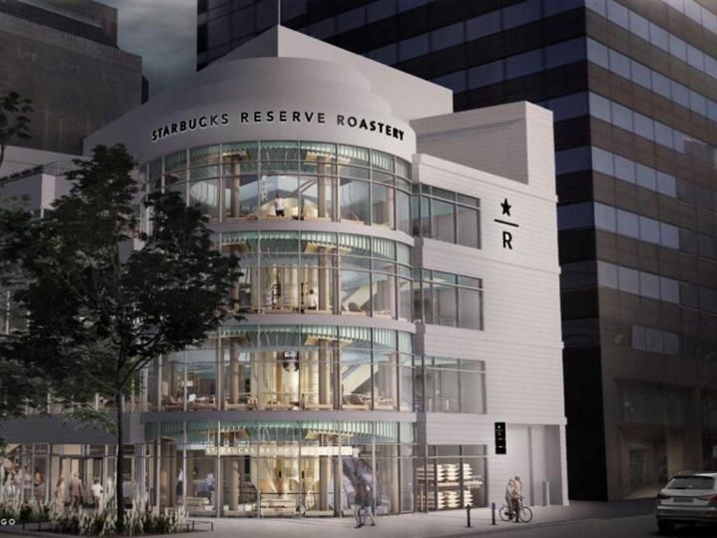 Mengintip Megahnya Gerai Starbucks di Chicago AS