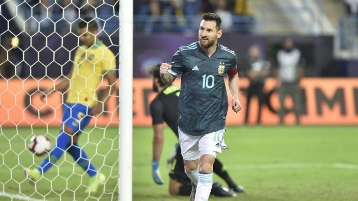 Lionel Messi senang Argentina bisa mengalahkan Brasil (AP Photo)