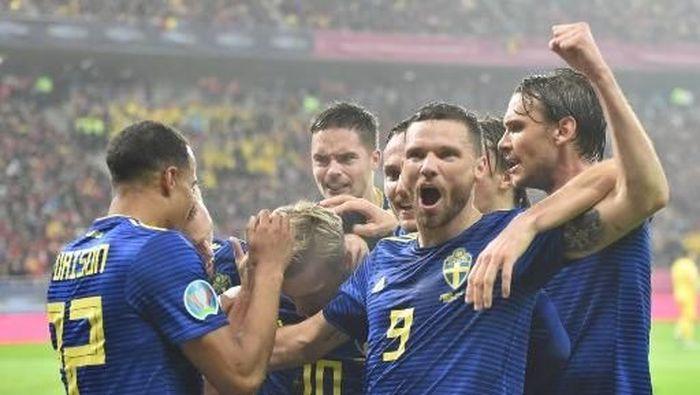 Swedia pastikan lolos ke putaran final Piala Eropa 2020. (Foto: Daniel MIHAILESCU / AFP)