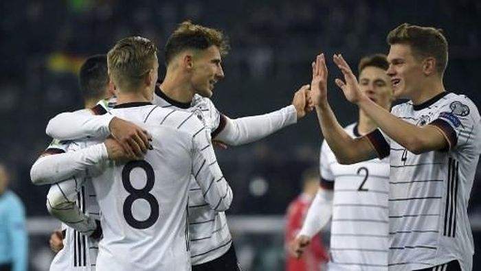 Jerman sukses mengalahkan Belarusia 4-0. Foto: Ina Fassbender/AFP