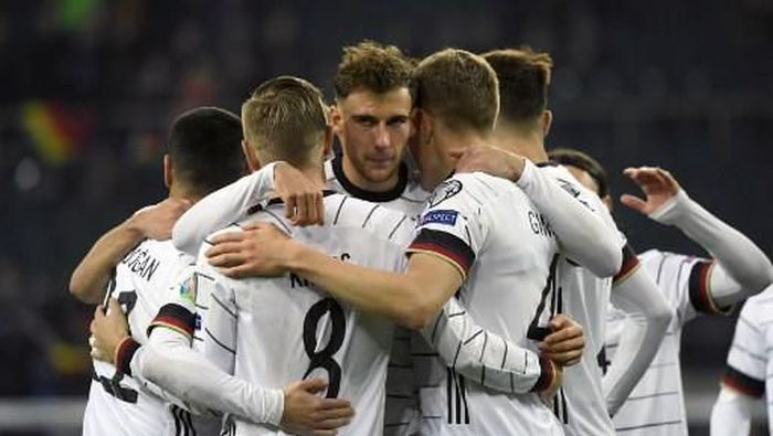 Jerman memastikan lolos ke Piala Eropa 2020 usai mengalahkan Belarusia. Foto: Ina Fassbender/AFP