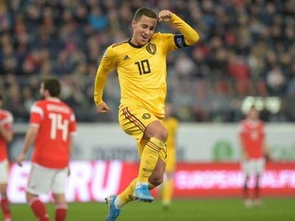 Kualifikasi Piala Eropa 2020: Eden Hazard 2 Gol, Belgia Benamkan Rusia 4-1