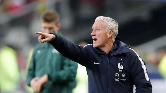 Didier Deschamps sudah memimpin Timnas Prancis 100 kali. (Foto: Francois Mori/AP Photo)