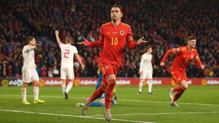 Wales lolos ke Piala Eropa 2020 usai menang 2-0 atas Hongaria berkat dua gol Aaron Ramsey (Foto: Harry Trump/Getty Images)