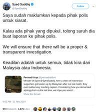 Cuitan Menpora Malaysia terkait pemukulan kepada suporter Indonesia