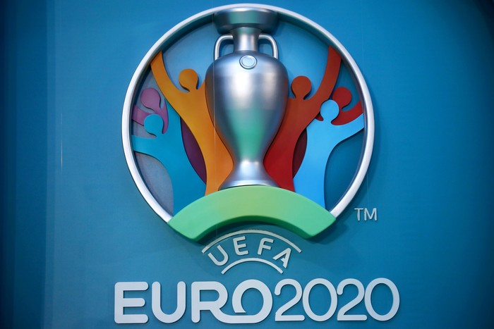 LONDON, ENGLAND - SEPTEMBER 21:  The logo for the UEFA EURO 2020 tournament is displayed during the UEFA EURO 2020 launch event for London at City Hall on September 21, 2016 in London, England.  (Photo by Dan Istitene/Getty Images)