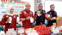 BBPOM-Bea Cukai Makassar Sita Kosmetik-Pangan Ilegal Senilai Ratusan Juta