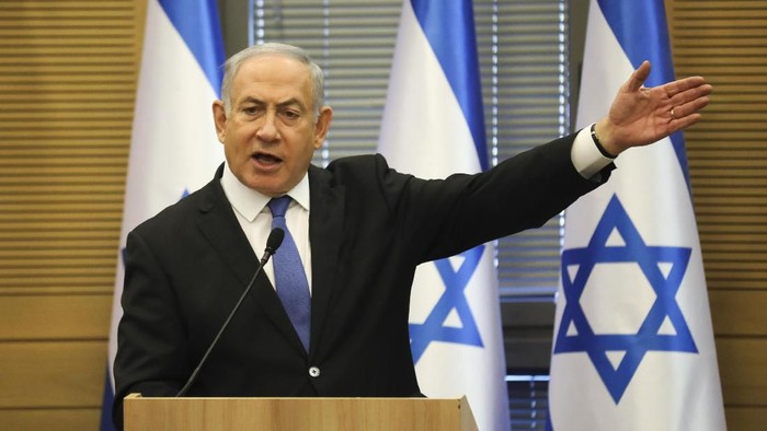 Israeli Prime Minister Benjamin Netanyahu speaks during an extended faction meeting of the right-wing bloc members at the Knesset, in Jerusalem, Wednesday, Nov. 20, 2019. (AP Photo/Oded Balilty)