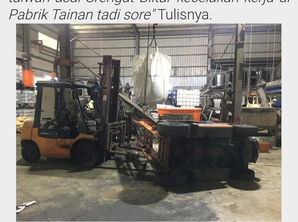 TKI Asal Blitar Tewas Tertimpa Forklift Saat Kerja di Taiwan