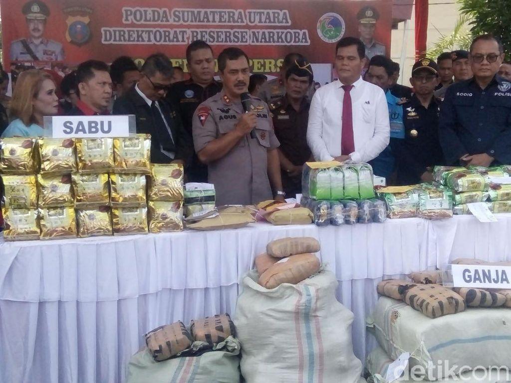 Polda Sumut Musnahkan 161 Kg Sabu dan Ribuan Ekstasi