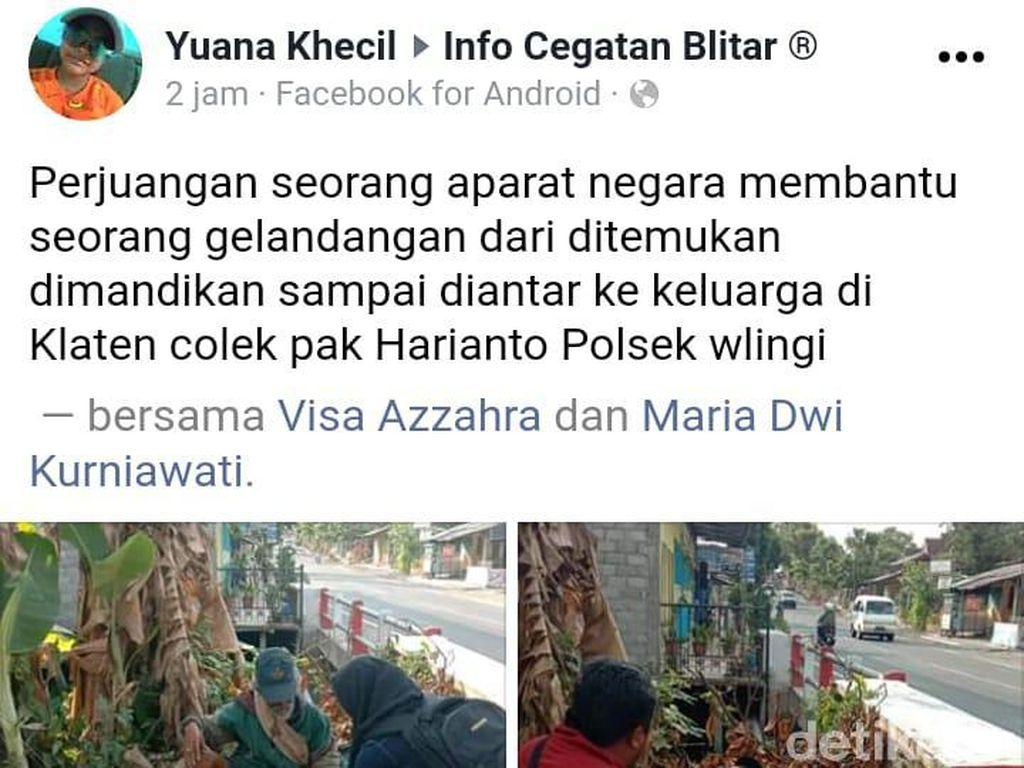 Viral, Polisi Antar Gelandangan Pulang ke Keluarganya di Klaten