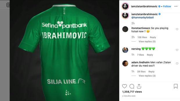 unggahan jersey Hammarby di akun Instagram Zlatan Ibrahimovic