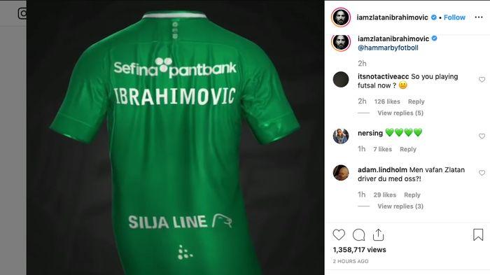 Jersey Hammarby bertulis nama Zlatan Ibrahimovic (Instagram @iamzlatanibrahimovic)