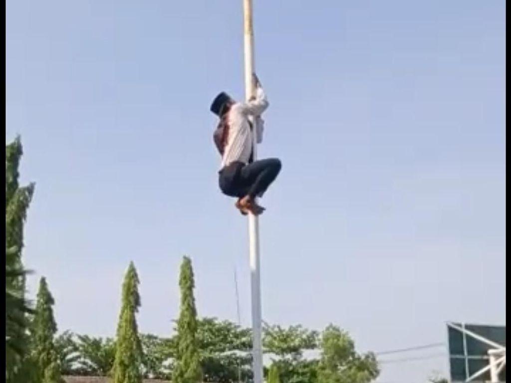 Video Viral Siswa Bojonegoro Panjat Tiang Bendera Saat Upacara Hari Guru