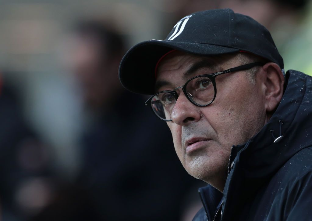 BERGAMO, ITALY - NOVEMBER 23:  Juventus coach Maurizio Sarri looks on during the Serie A match between Atalanta BC and Juventus at Gewiss Stadium on November 23, 2019 in Bergamo, Italy.  (Photo by Emilio Andreoli/Getty Images)