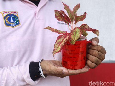 Barang-barang bekas, seperti sepatu, gelas atau botol ternyata bisa berguna lho..Di RPTRA Krendang, barang-barang bekas tersebut diubah jadi pot bunga.