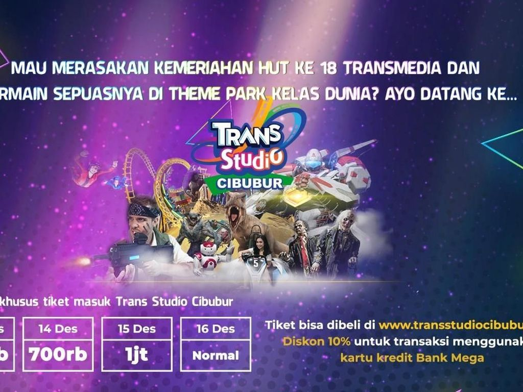 Tiket Trans Studio Cibubur untuk HUT Transmedia Masih Tersedia
