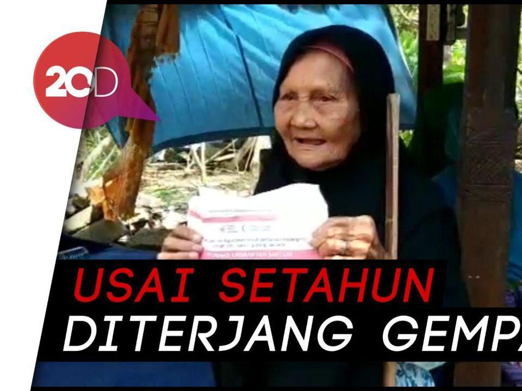 Senyum Warga Terdampak Gempa Lombok Terima Bantuan Tunai