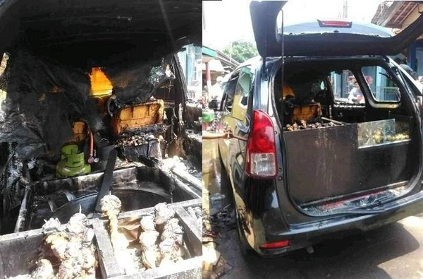 Viral Mobil Terbakar Gegara Dipakai Jualan Tahu Bulat