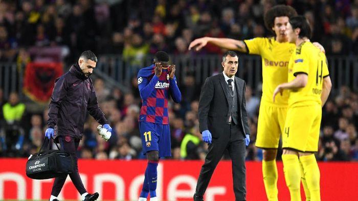 Winger Barcelona Ousmane Dembele lagi-lagi mengalami cedera. Foto: David Ramos / Getty Images