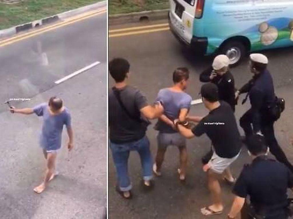 Pukuli Kendaraan yang Melintas dengan Palu, Kakek Ini Ditangkap
