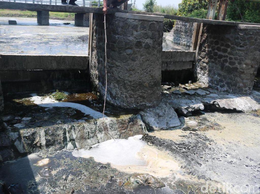 Limbah di Sungai Avur Budug Jombang Diduga Dibuang Lewat Pipa Tersembunyi