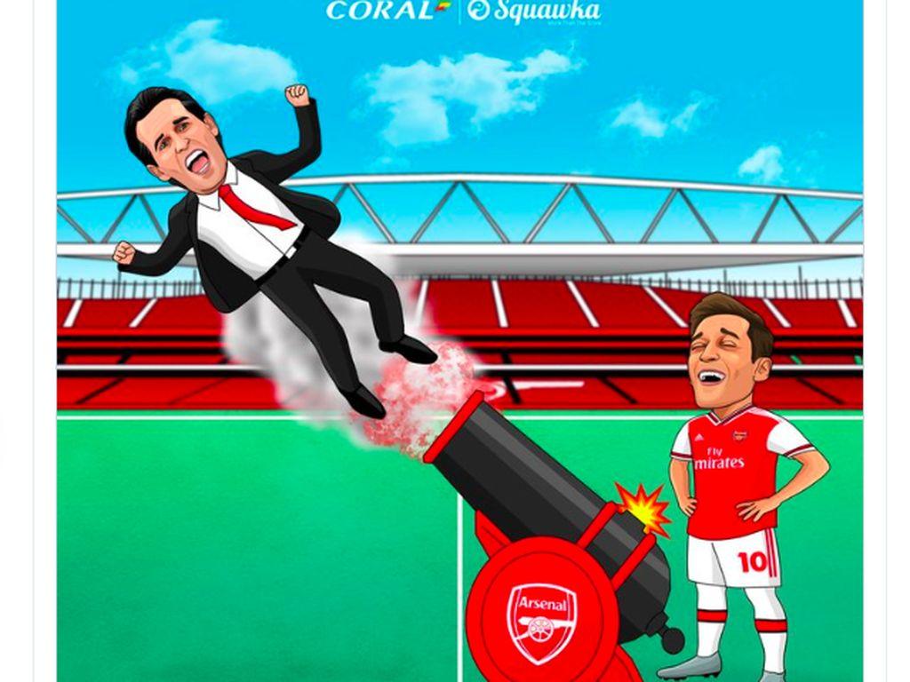 Meme Unai Emery Dipecat Arsenal Bikin Ozil Bahagia