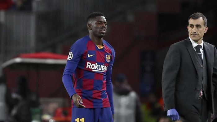 Ousmane Dembele absen 10 pekan karena cedera paha (AP Photo/Emilio Morenatti)