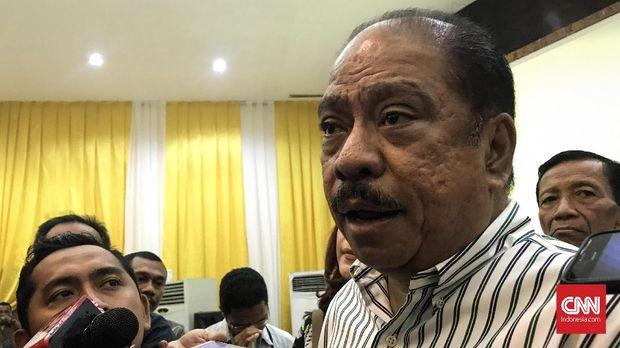 Ketua Penyelenggara Munas Partai Golkar Melchias Marcus Mekeng saat ditemui di Kantor DPP Partai Golkar, Slipi, Jakarta Barat pada Jumat (29/11).