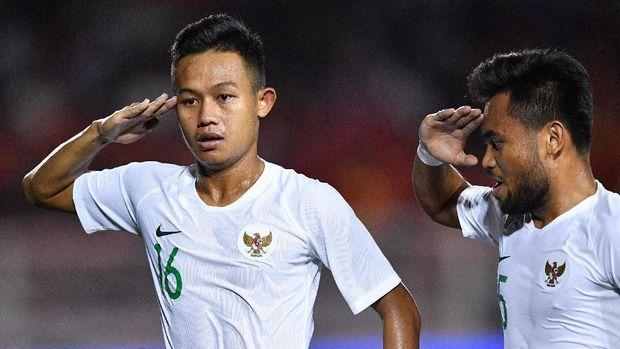Sani Rizki mencetak satu gol ke gawang Vietnam.