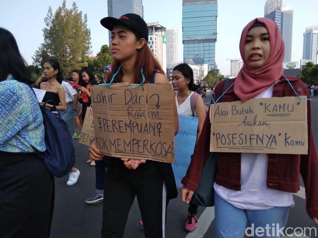 Tolak Kekerasan Seksual, Massa Luka Lebam Long March St Sudirman-Bundaran HI