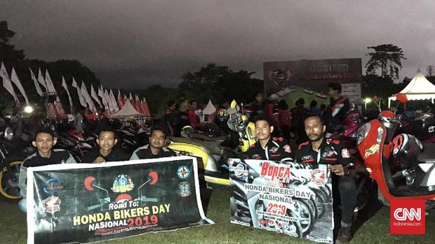 Pemilik motor Honda asal Aceh hadir di acara Honda Bikers Day 2019 di Ambarawa, Jawa Tengah.