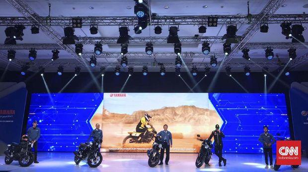 PT Yamaha Indonesia Motor Manufacturing (YIMM) meluncurkan tiga motor baru hari ini di Kemayoran, Jakarta Pusat Senin (2/12).