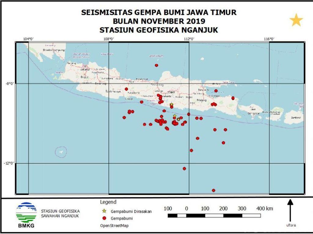 Selama November 2019 BMKG Catat 65 Kali Gempa di Jatim