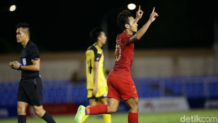 Osvaldo Haay mencetak hat-trick saat Indonesia menang telak atas Brunei Darussalam di SEA Games 2019 (Foto: Grandyos Zafna/detikcom)