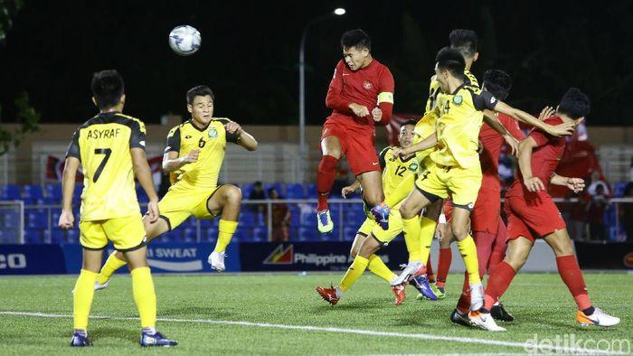 Andy Setyo Nugroho mencetak satu gol saat Indonesia menag 8-0 atas Brunei Darussalam di SEA Games 2019. (Foto: Grandyos Zafna/detikcom)