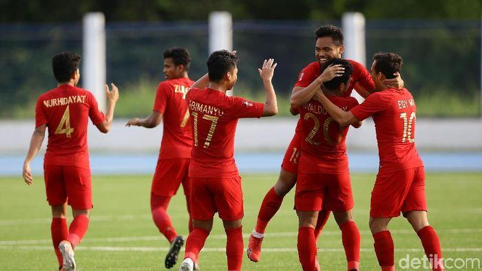 Data dan fakta usai Timnas Indonesia U-22 menaklukkan Laos di SEA Games 2019 (Grandyos Zafna/detikSport)
