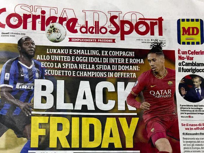 Tajuk utama Corriere dello Sport yang dikritik habis (AP Photo/Fabio Polimeni)