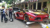 Surat dan Pemilik Belum Jelas, Lamborghini Terbakar Diangkut ke Kantor Polisi