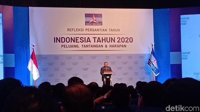 Foto: Ketum Partai Demokrat Susilo Bambang Yudhoyono atau SBY di JCC, Senayan, Jakarta. (Gibran-detikcom)