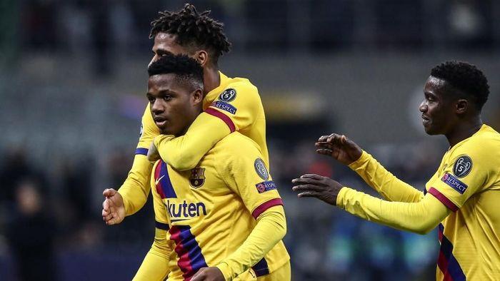 Ansu Fati menjadi penentu kemenangan Barcelona atas Inter Milan di Liga Champions (Foto: Isabella BONOTTO / AFP)