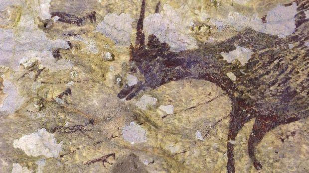 Lukisan tertua di dunia berusia 44.000 tahun, ditemukan di Gua Leang Bulu Sipong 4, Maros Pangkep Makassar, Sulawesi Selatan.
