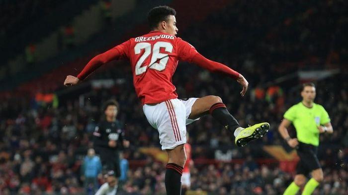 Mason Greenwood mencetak dua gol saat Manchester United menang 4-0 atas AZ di Liga Europa (Foto: Lindsey Parnaby / AFP)