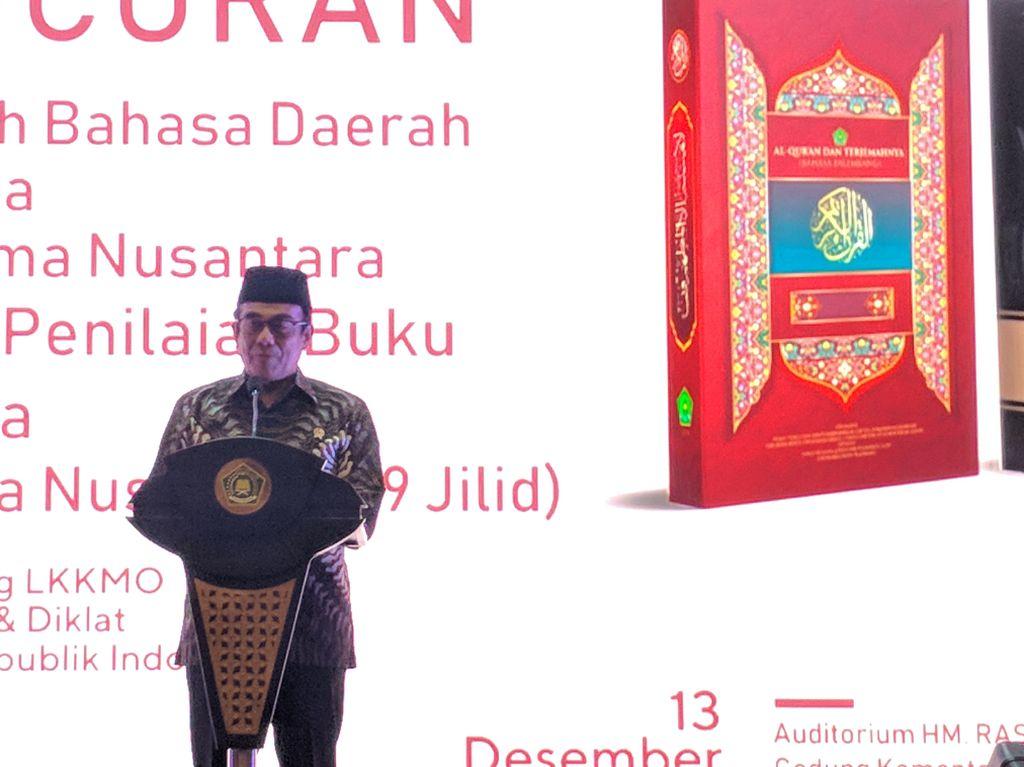 Rilis Al-Quran Terjemahan Sunda-Palembang, Menag Bicara Pentingnya Literasi